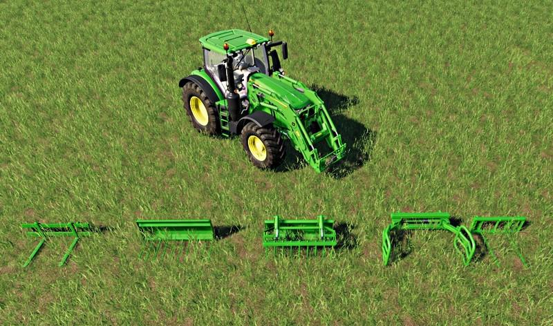 John Deere front loader attachments set v 1.0