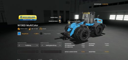 NH W190D Wheel Loader - MultiColor and more v 1.0