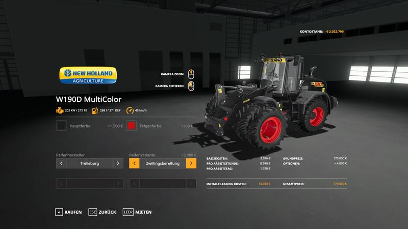 NH W190D Wheel Loader - MultiColor and more v 1.0