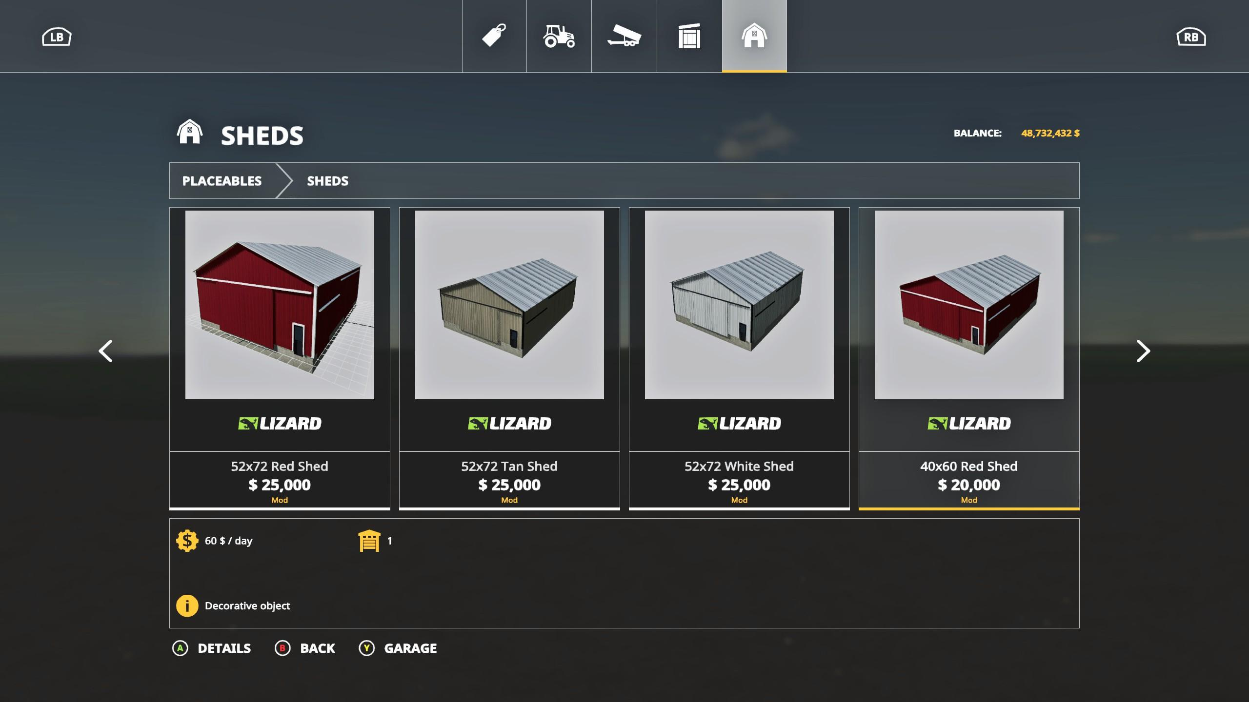 Placeable Sheds Pack v 1.0