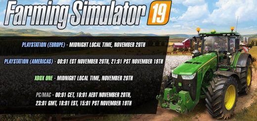 Official release times for Farming Simulator 19