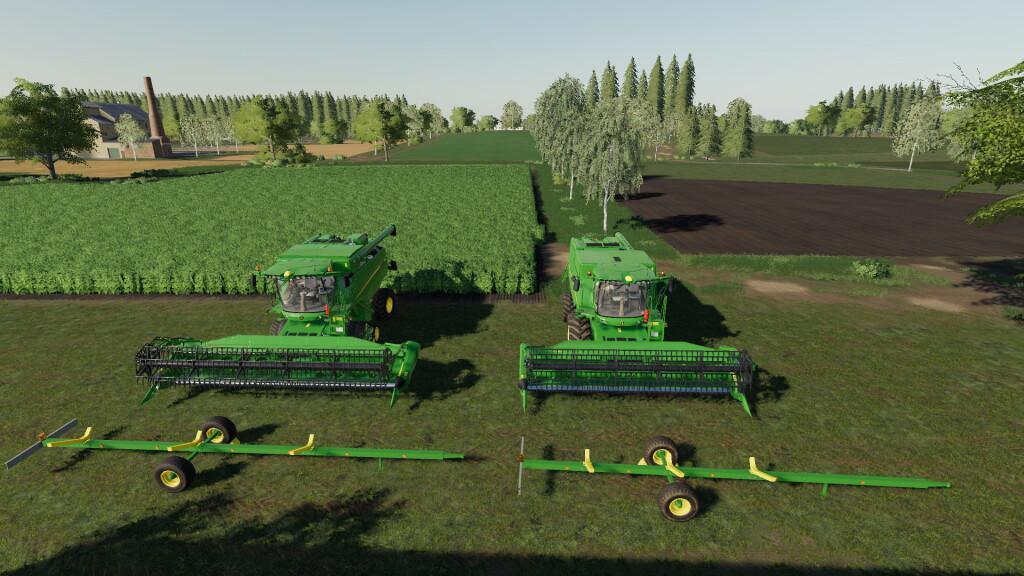 john deere cutter trailer pack v10  fs19 mods farming